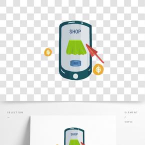 手繪手機購物插畫