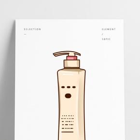 黃色瓶裝洗頭膏插畫