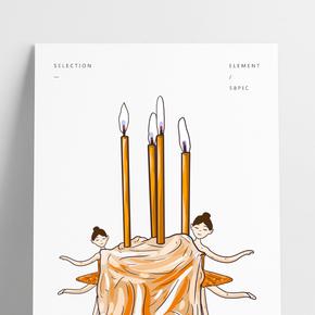 手繪卡通可愛蠟燭蛋糕芭蕾舞女孩