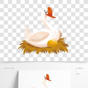 手繪插圖下金蛋的鵝PNG透