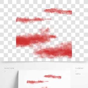 簡約紅色云彩插畫海報免摳元素
