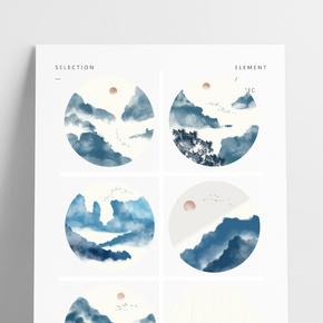 中國風山水場景圓形掛畫裝飾