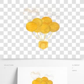 撒金粉熱氣球海報素材