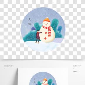 大寒節氣卡通雪人和小女孩