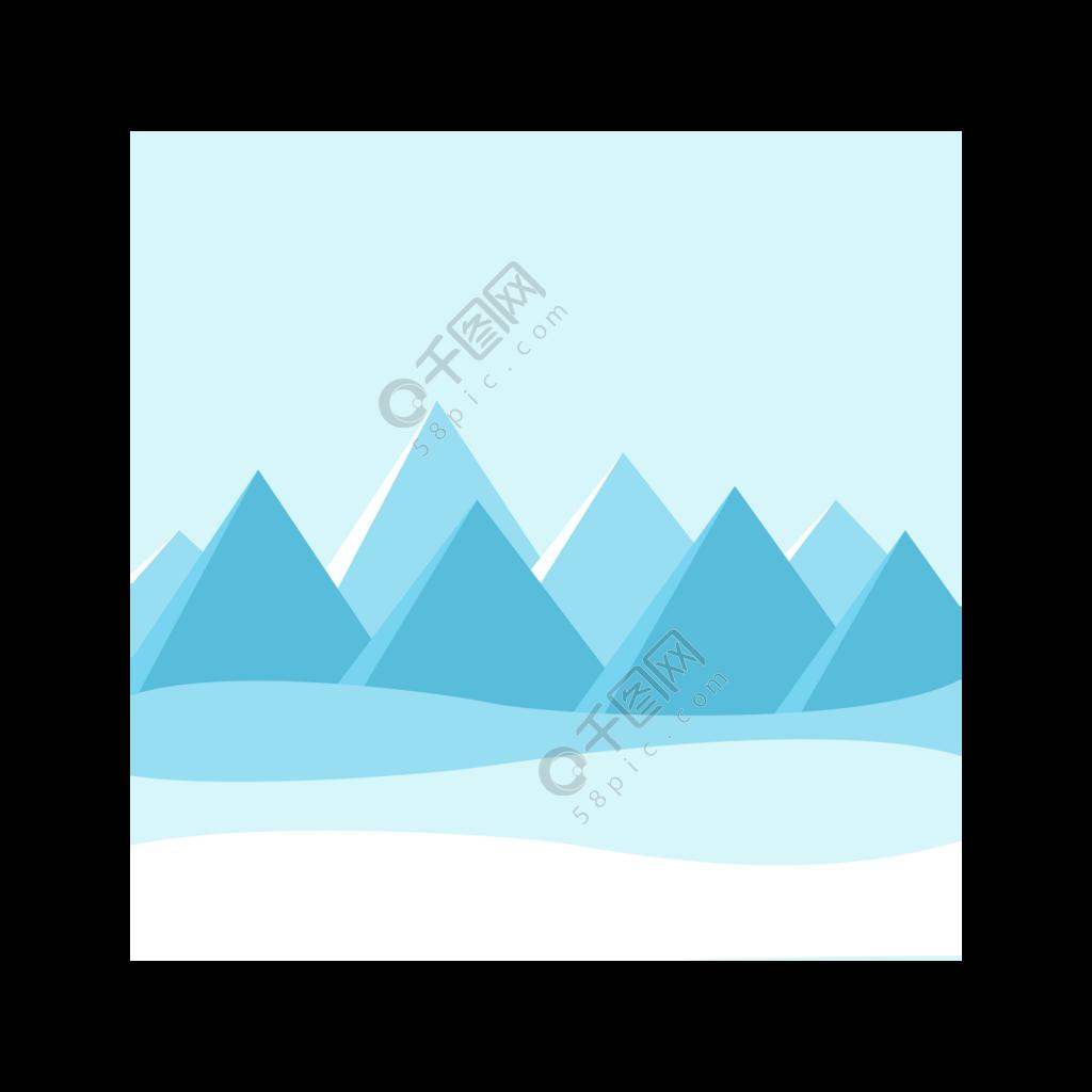 简约手绘雪山风景图插画网页免抠元素