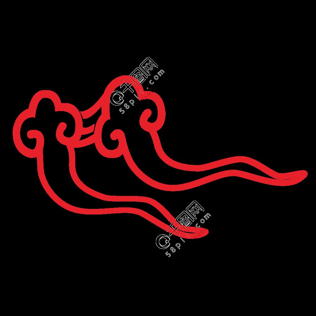 红色中国风古典祥云装饰