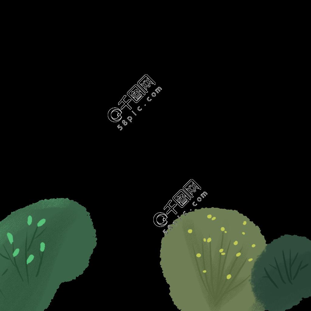 卡通手绘绿色植物免抠图