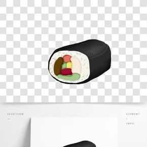 簡約手繪日本壽司卷插畫海報免摳素材