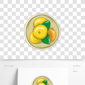 手繪水果檸檬插畫