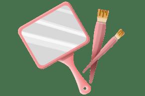 手绘粉色化妆镜插画