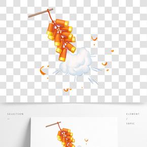 卡通手繪中國風元宵節插畫鞭炮