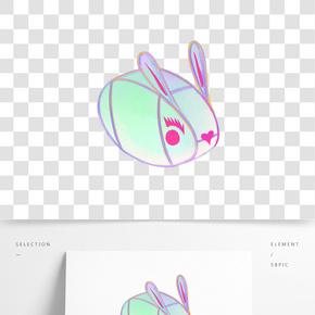 卡通手繪中國風元宵節插畫兔子燈
