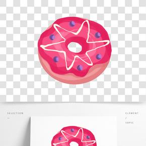 美味的紅色甜甜圈插畫