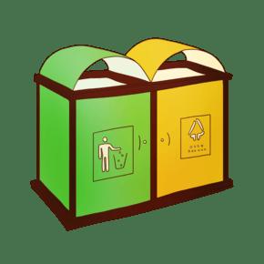 手绘卡通环保垃圾桶插画