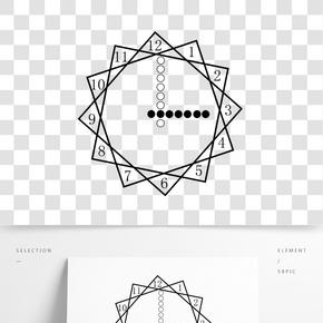 圍棋棋子與矩形組成的裝飾時鐘