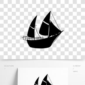 黑白手绘帆船素材
