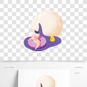 元宵節紫色手繪插畫小孩游泳免扣插畫