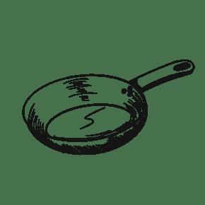 简约手绘卡通中式炒锅平底锅不粘锅