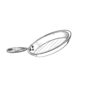 木柄简约手绘卡通平底锅炒锅