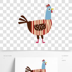 棕色豎條紋簡筆畫母雞免摳圖