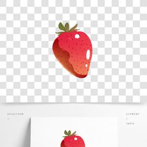 可愛紅草莓插畫素材