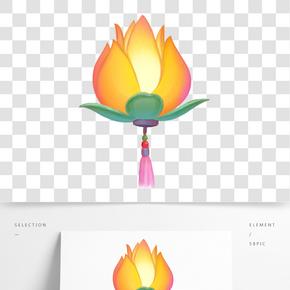 卡通手繪中國風元宵節插畫河燈
