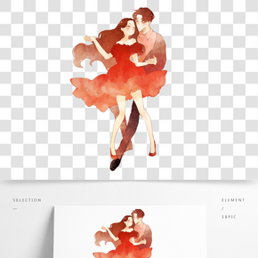 情人節跳舞情侶手繪人物PNG素材