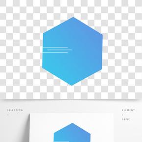 手繪藍色漸變六邊形邊框