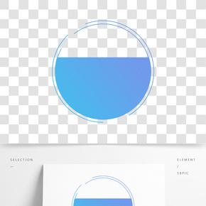 手繪藍色漸變圓形裝飾