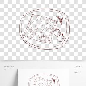 手繪線描面包片插畫