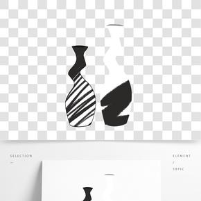 手繪簡約黑白線條藝術裝飾花瓶