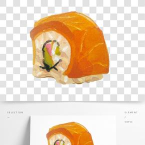 卡通手繪鰻魚卷免摳圖