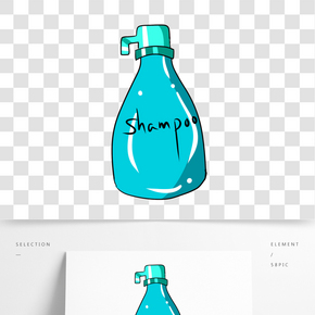 藍色漸變洗發露元素