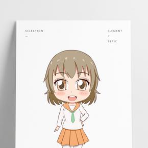卡通風格橙色校服小學生