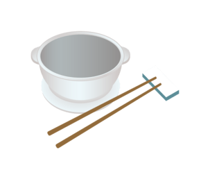 手绘矢量扁平餐具筷子