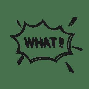 爆炸框WHAT英文PNG
