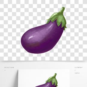 手繪卡通紫色茄子素材元素