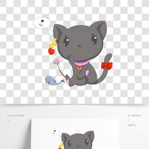 情人節可愛手繪撓癢的小黑貓png矢量素材