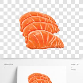 手繪立體三文魚素材元素