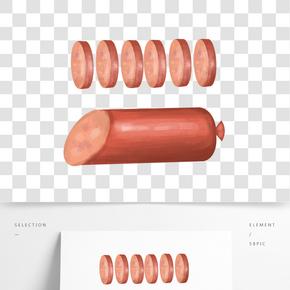 立體手繪火腿腸素材元素