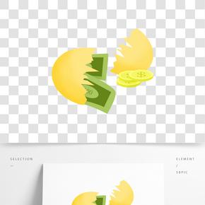 手繪金蛋錢幣插畫