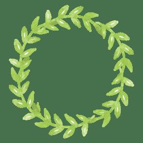 绿色的植物花环免抠图