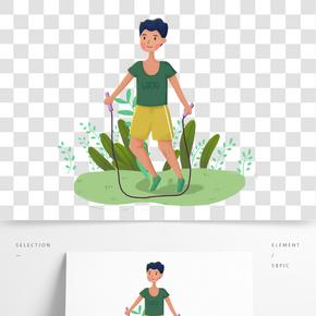 运动健身跳绳的男生手绘插画