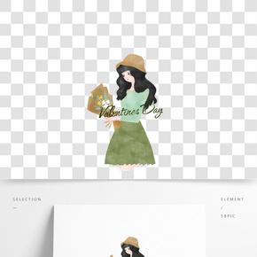 情人節綠色系戴帽子手拿鮮花女孩手繪插畫