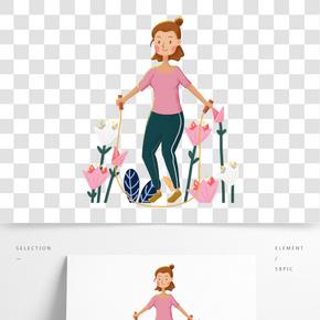 运动健身跳绳的女孩手绘插画