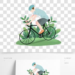 运动健身户外骑单车的男孩手绘插画