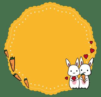 情人节暖橘色可爱小兔子情侣矢量蕾丝<i>花</i><i>边</i><i>边</i>框素材