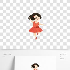 卡通手繪跳舞的女生