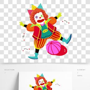 愚人節滑稽小丑跳舞手繪人物PNG
