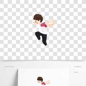 跳街舞的小男孩手繪